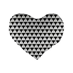 Diamond Pattern White Black Standard 16  Premium Flano Heart Shape Cushions by Cveti