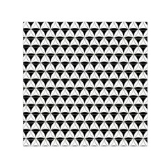 Diamond Pattern White Black Small Satin Scarf (square) by Cveti