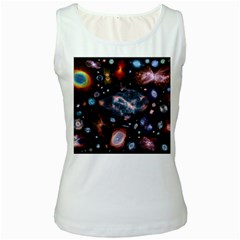 Galaxy Nebula Women s White Tank Top