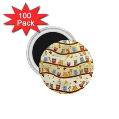 Autumn Owls Pattern 1 75  Magnets (100 Pack)  by Celenk