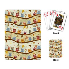 Autumn Owls Pattern Playing Card by Celenk