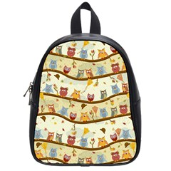 Autumn Owls Pattern School Bag (small) by Celenk