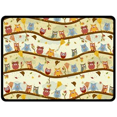 Autumn Owls Pattern Fleece Blanket (large)  by Celenk