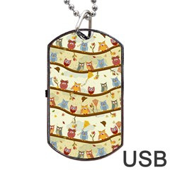 Autumn Owls Pattern Dog Tag Usb Flash (two Sides) by Celenk