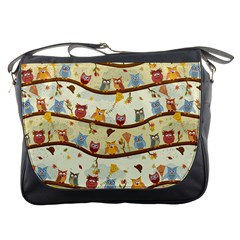 Autumn Owls Pattern Messenger Bags by Celenk