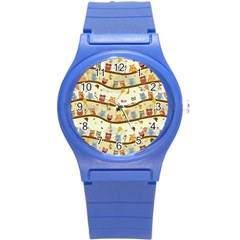 Autumn Owls Pattern Round Plastic Sport Watch (s) by Celenk