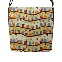 Autumn Owls Pattern Flap Messenger Bag (l)  by Celenk