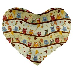Autumn Owls Pattern Large 19  Premium Flano Heart Shape Cushions by Celenk