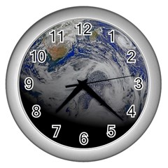 A Sky View Of Earth Wall Clocks (silver)