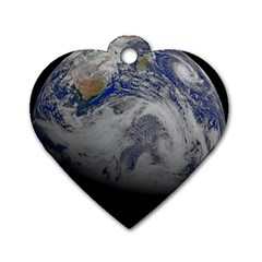 A Sky View Of Earth Dog Tag Heart (one Side)
