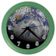 A Sky View Of Earth Color Wall Clocks