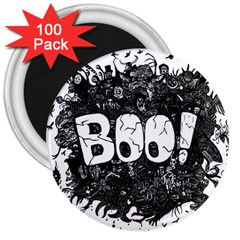 Monster Art Boo! Boo2 3  Magnets (100 Pack) by Celenk