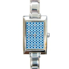 Blue Leaves Eyes Rectangle Italian Charm Watch by Cveti