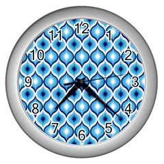 Blue Leaves Eyes Wall Clocks (silver)