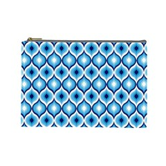 Blue Leaves Eyes Cosmetic Bag (large)  by Cveti