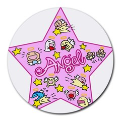 Pink Angel Star Round Mousepads by Celenk