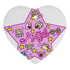 Pink Angel Star Ornament (heart)