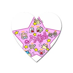 Pink Angel Star Heart Magnet by Celenk