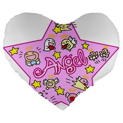 Pink Angel Star Large 19  Premium Flano Heart Shape Cushions