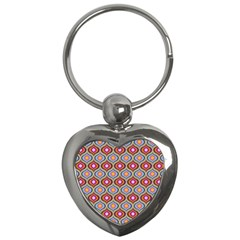 Blue Leaves Eyes Pattern Key Chains (heart)  by Cveti