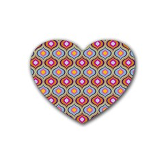 Blue Leaves Eyes Pattern Heart Coaster (4 Pack)  by Cveti