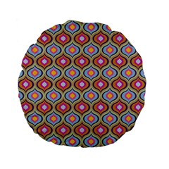 Blue Leaves Eyes Pattern Standard 15  Premium Flano Round Cushions by Cveti