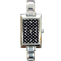 Wave Pattern Black Grey Rectangle Italian Charm Watch by Cveti
