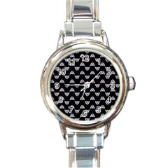 Wave Pattern Black Grey Round Italian Charm Watch by Cveti