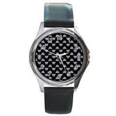 Wave Pattern Black Grey Round Metal Watch by Cveti