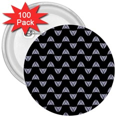 Wave Pattern Black Grey 3  Buttons (100 Pack)  by Cveti