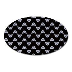 Wave Pattern Black Grey Oval Magnet by Cveti