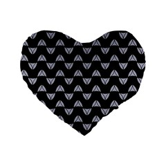 Wave Pattern Black Grey Standard 16  Premium Flano Heart Shape Cushions by Cveti