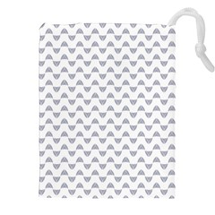 Wave Pattern White Grey Drawstring Pouches (xxl) by Cveti