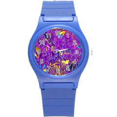 Melted Fractal 1a Round Plastic Sport Watch (s) by MoreColorsinLife
