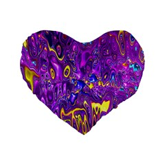 Melted Fractal 1a Standard 16  Premium Flano Heart Shape Cushions by MoreColorsinLife