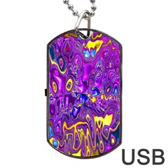 Melted Fractal 1a Dog Tag Usb Flash (two Sides)