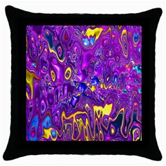 Melted Fractal 1a Throw Pillow Case (black) by MoreColorsinLife
