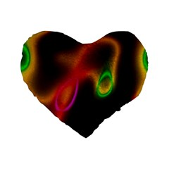 Vibrant Fantasy 4 Standard 16  Premium Flano Heart Shape Cushions by MoreColorsinLife