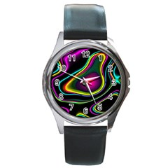 Vibrant Fantasy 5 Round Metal Watch by MoreColorsinLife