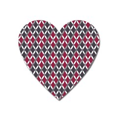 Rhomboids Pattern Red Grey Heart Magnet by Cveti