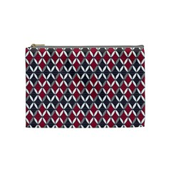 Rhomboids Pattern Red Grey Cosmetic Bag (medium)  by Cveti