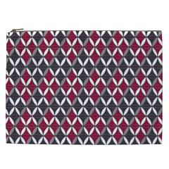 Rhomboids Pattern Red Grey Cosmetic Bag (xxl)  by Cveti