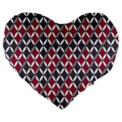 Rhomboids Pattern Red Grey Large 19  Premium Heart Shape Cushions by Cveti