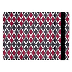 Rhomboids Pattern Red Grey Samsung Galaxy Tab Pro 12 2  Flip Case by Cveti
