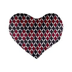 Rhomboids Pattern Red Grey Standard 16  Premium Flano Heart Shape Cushions by Cveti
