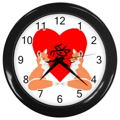 Year Of The Fox Love Heart Wall Clock (black) by ComfortMelody