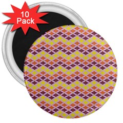 Wave Pattern 3 3  Magnets (10 Pack)  by Cveti
