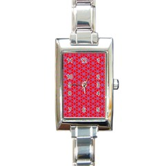 Flower Of Life Pattern Red Purle Rectangle Italian Charm Watch by Cveti