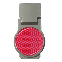 Flower Of Life Pattern Red Purle Money Clips (round)  by Cveti