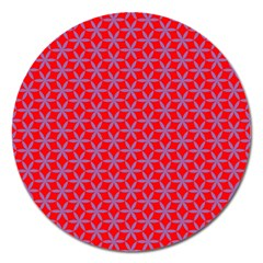 Flower Of Life Pattern Red Purle Magnet 5  (round) by Cveti